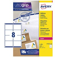 Avery Jam-free Laser Addressing Labels, 8 per Sheet, 99.1x67.7mm, White, L7165-500, 4000 Labels