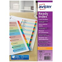 Avery Readyindex Mylar 1-10 Punched