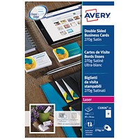 Avery Laser Business Card Dble-Sided Satin Wht (Pack of 250)