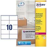 Avery Weatherproof Laser Shipping Labels, 10 per Sheet, 99.1x57mm, L7992-25, 250 Labels