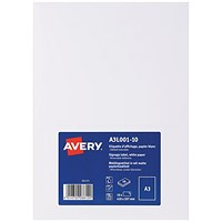 Avery Removable Sign, Matt Finish, A3 (Pack of 10)