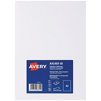 Avery Transparent A3 Sign, Clear (Pack of 10)