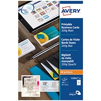 Avery Quick & Clean Laser Business Cards, 85mm x 54mm, 10 per Sheet, White, 200gsm, Pack of 250