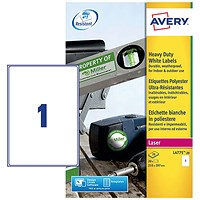 Avery Heavy Duty Laser Labels, 1 per Sheet, 210x297mm, White, L4775-20, 20 Labels