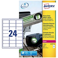 Avery Heavy Duty Laser Labels, 24 per Sheet, 63.5x33.9mm, White, L4773-20, 480 Labels