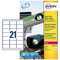 Avery Heavy Duty Laser Labels, 21 per Sheet, 63.5x38.1mm, White, L7060-20, 420 Labels