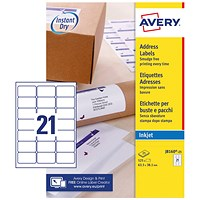 Avery Quick DRY Inkjet Addressing Labels, 21 per Sheet, 63.5x38.1mm, White, J8160-25, 525 Labels
