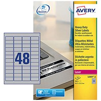 Avery Heavy Duty Laser Labels, 48 per Sheet, 45.7x21.2mm, Silver, L6009-20, 960 Labels