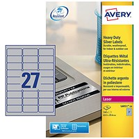 Avery Heavy Duty Laser Labels, 27 per Sheet, 63.5x29.6mm, Silver, L6011-20, 540 Labels
