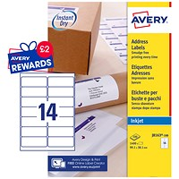 Avery Quick DRY Inkjet Addressing Labels, 14 per Sheet, 99.1x38.1mm, White, J8163-100, 1400 Labels