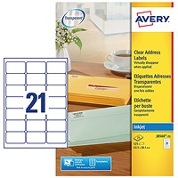 Avery Clear Addressing Inkjet Labels, 21 per Sheet, 63.5x38.1mm, J8560-25, 525 Labels