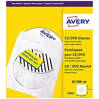 Avery CD/DVD Paper Sleeves, 126x126mm, White, SL1760-100, Pack of 100