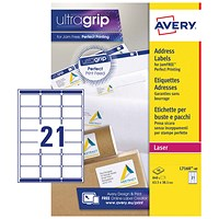 Avery Laser Labels, 21 per Sheet, 63.5x38.1mm, White, L7160-40, 840 Labels