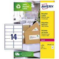 Avery Recycled Laser Addressing Labels, 14 per Sheet, 99.1x38.1mm, White, LR7163-100, 1400 Labels