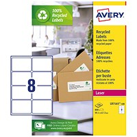 Avery Recycled Laser Addressing Labels, 8 per Sheet, 99.1x67.7mm, White, LR7165-100, 800 Labels