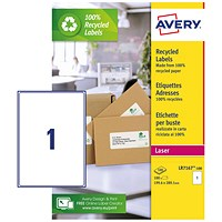 Avery Laser Labels Recycled 1 Per Sheet White (Pack of 100) LR7167-100