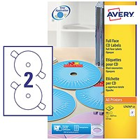 Avery Laser CD/DVD Labels, 2 per Sheet, 117mm Diameter, Black and White, L7676-25, 50 Labels