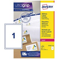Avery Jam-free Laser Addressing Labels, 1 per Sheet, 199.6x289.1mm, White, L7167-500, 500 Labels