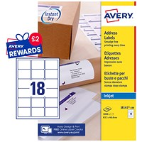 Avery Quick DRY Inkjet Addressing Labels, 18 per Sheet, 63.5x46.6mm, White, J8161-100, 1800 Labels