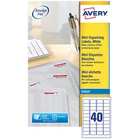Avery Inkjet Mini Labels, 40 per Sheet, 45.7x25.4mm, White, J8654-25, 1000 Labels