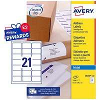 Avery Quick DRY Inkjet Addressing Labels, 21 per Sheet, 63.5x38.1mm, White, J8160-100, 2100 Labels