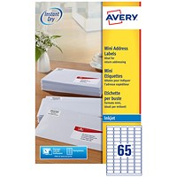 Avery Inkjet Mini Labels, 65 per Sheet, 38.1x21.2mm, White, J8651-25, 1625 Labels