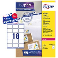 Avery Jam-free Laser Addressing Labels, 18 per Sheet, 63.5x46.6mm, White, L7161-100, 1800 Labels