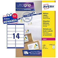 Avery Jam-free Laser Addressing Labels, 14 per Sheet, 99.1x38.1mm, White, L7163-100, 1400 Labels