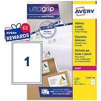Avery Jam-free Laser Addressing Labels, 1 per Sheet, 199.6x289.1mm, White, L7167-100, 100 Labels