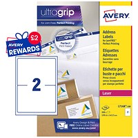 Avery Jam-free Laser Addressing Labels, 2 per Sheet, 199.6x143.5mm, White, L7168-100, 200 Labels