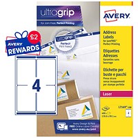 Avery Jam-free Laser Addressing Labels, 4 per Sheet, 139x99.1mm, White, L7169-100, 400 Labels