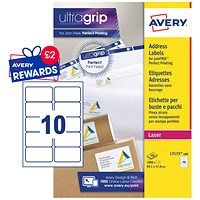 Avery Jam-free Laser Addressing Labels, 10 per Sheet, 99.1x57mm, White, L7173-100, 1000 Labels