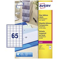 Avery Laser Mini Labels, 65 per Sheet, 38.1x21.2mm, Clear, L7551-25, 1625 Labels