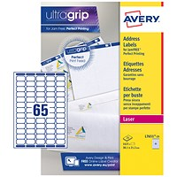 Avery Laser Mini Labels, 65 per Sheet, 38.1x21.2mm, White, L7651-25, 1625 Labels