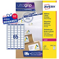 Avery Laser Mini Labels, 65 per Sheet, 38.1x21.2mm, White, L7651-100, 6500 Labels