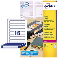 Avery Laser Media Labels for Video Spine, 16 per Sheet, 145x17mm, L7674-25, 400 Labels