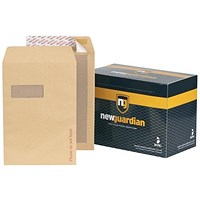 New Guardian C4 Board-backed Envelopes, Window, 130gsm, Peel & Seal, Manilla, Pack of 125