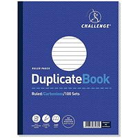 Challenge Carbonless Ruled Duplicate Book, 100 Sets, 248x187mm, Pack of 3