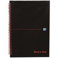 Black n' Red Glossy Black Wirebound Notebook, A4, Ruled & Perforated, 140 Pages, Pack of 5