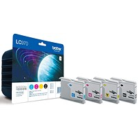 Brother LC970VALBP Inkjet Cartridge Value Pack - Black, Cyan, Magenta and Yellow (4 Cartridges)