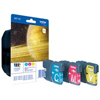 Brother LC1100RBWBP Inkjet Cartridge Rainbow Pack - Cyan, Magenta and Yellow (3 Cartridges)
