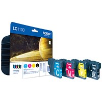 Brother LC1100VALBP Inkjet Cartridge Value Pack - Black, Cyan, Magenta and Yellow (4 Cartridges)