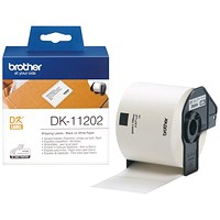 Brother Label Shipping, 62x100mm, White, Roll of 300, Ref DK11202