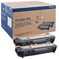 Brother TN3390TWIN Black Super High Yield Laser Toner Cartridges (Twin Pack)