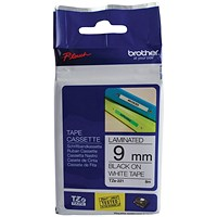 Brother P-touch TZE Label Tape, 9mmx8m, Black on White, Ref TZE221