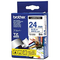 Brother P-Touch 24mm Blue on White TZE253 Labelling Tape TZE253