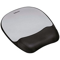 Fellowes Mousepad, Non-skid Memory Foam, Silver