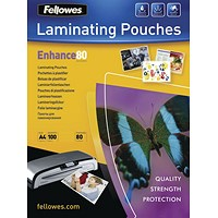 Fellowes A4 Laminating Pouches, Thin, 160 Micron, Matt Finish, Pack of 100