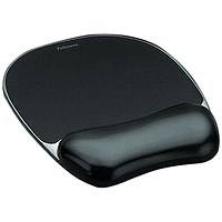 Fellowes Crystal Mouse Mat Pad with Wrist Rest, Gel, Black
