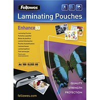 Fellowes A4 Self Adhesive Laminating Pouches, Thin, 160 Micron, Glossy, Pack of 100